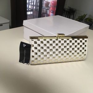 French Connection Gold/White Clutch